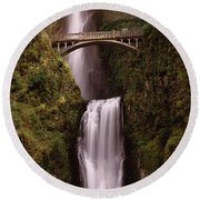 Waterfall In A Forest, Multnomah Falls Round Beach Towel