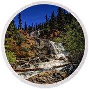 Waterfall In Jasper 1 Round Beach Towel