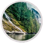 Waterfall Jervis Inlet Round Beach Towel