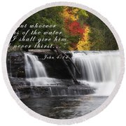 Waterfall With Scripture Round Beach Towel