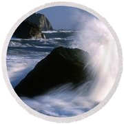 Waves Breaking On Shore Round Beach Towel