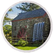 Wayside Inn Grist Mill Round Beach Towel