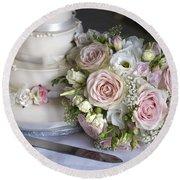 Wedding Bouquet And Cake Round Beach Towel