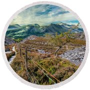 Welsh Mountains Round Beach Towel