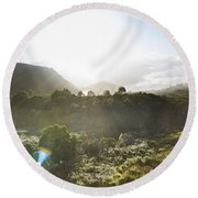 West Coast Range Landscape In Tasmania Australia Round Beach Towel