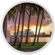 West Palm Beach Skyline Round Beach Towel