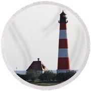 Westerhebersand Lighthouse - North Sea - Germany Round Beach Towel