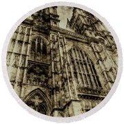 Westminster Abbey London Vintage Round Beach Towel