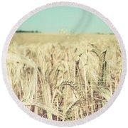Wheat Crop Round Beach Towel