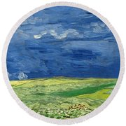Wheatfield Under Thunderclouds Round Beach Towel