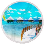 White Bay Round Beach Towel