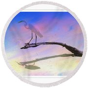 White Bird Round Beach Towel