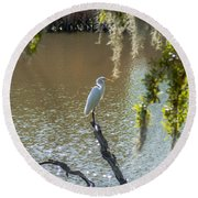 White Heron In Magnolia Cemetery Round Beach Towel