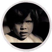 White Mountain Apache Girl Rodeo White River Arizona 1969-1984 Round Beach Towel