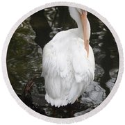 White Pelican Round Beach Towel