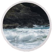 White Surf Round Beach Towel