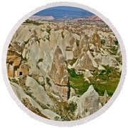 Who Lives Here In Cappadocia-turkey  Round Beach Towel