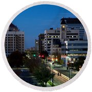 Wichita Skyline At Dusk From Waterwalk Round Beach Towel