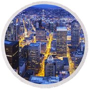 Wide Seattle Cityscape Round Beach Towel