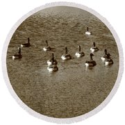 Wild Birds And Pond Round Beach Towel