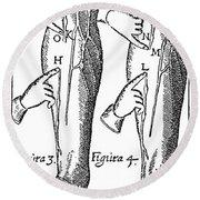 William Harvey: Blood, 1628 Round Beach Towel