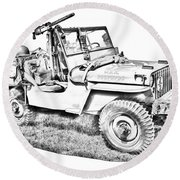 Willys World War Two Army Jeep Illustration Round Beach Towel