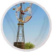 Wind Mills In West Texas Round Beach Towel