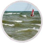 Wind Surfing Round Beach Towel