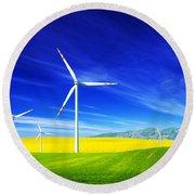 Wind Turbines On Spring Field Round Beach Towel