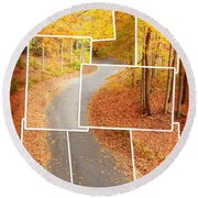 Winding Alley In Fall Round Beach Towel