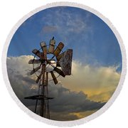 Windmill And Clouds Round Beach Towel
