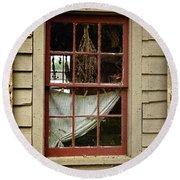 Window - Glimpse Into The Past Round Beach Towel