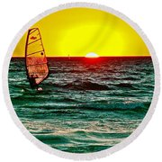 Windsurfer At Sunset On Lake Michigan From Empire-michigan  Round Beach Towel