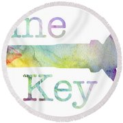 Wine Key Watercolor Round Beach Towel