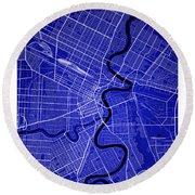 Winnipeg Street Map - Winnipeg Canada Road Map Art On Colored Ba Round Beach Towel