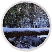 Winter Forest Stream Round Beach Towel