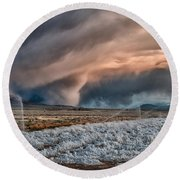 Winter Storm Round Beach Towel by Cat Connor
