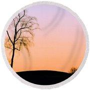 Winter Sunset Tree Round Beach Towel