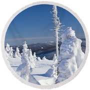 Winter View Of Snow Covered Trees Round Beach Towel