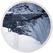 Winter Waterfall Snow Round Beach Towel