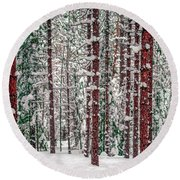 Winters Forest Round Beach Towel