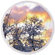 Wintry Sunset Round Beach Towel by Will Borden