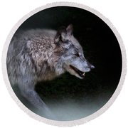 Wolf On The Prowl Round Beach Towel