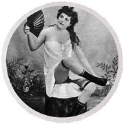 Woman And Fan, C1887 Round Beach Towel