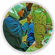 Woman Artisan At Mosaic School In Madaba In Jordan  Round Beach Towel