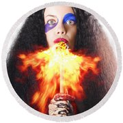 Woman Breathing Fire From Mouth Round Beach Towel