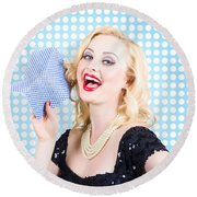 Woman Cleaner Maid  Round Beach Towel