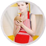 Woman Drinking Coconut Milk In Kitchen Round Beach Towel