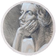 Woman Head Study Round Beach Towel