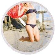 Woman In Bikini Jumping Round Beach Towel